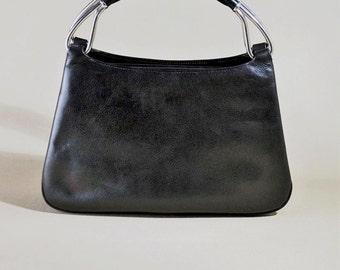 Vintage Original '50ties Höf Germany Black Leather Bag, Handbag, Elegant Bag, Evening Bag