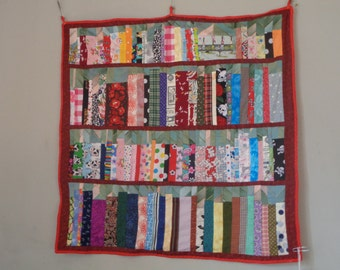 Bookshelves patchwork wall hanging - made to order