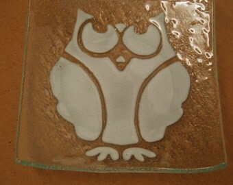 Art Glass Dish with white owl design on clear glass
