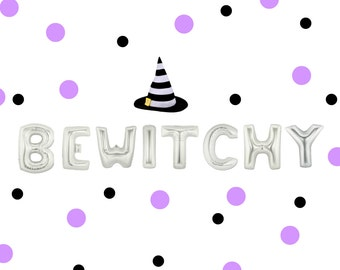 "16"" ""BEWITCHY"" balloon/banner. Halloween balloons. witch balloon. Witch decor. Halloween party supplies. Spooky witch. Hocus pocus. witches"