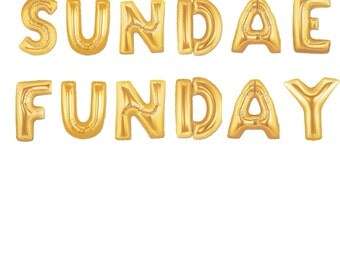 "16"" Gold SUNDAE FUNDAY balloons/banner. Party Decor. Ice cream party. Ice cream party balloon. Ice cream party decor. Sunday funday. Sundae"