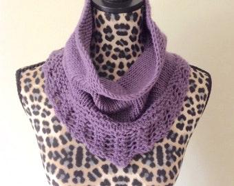 Bridger Hand Knit Cowl with Lace Knit Trim