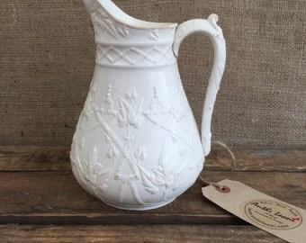 IRONSTONE CHINA JUG - Antique Victorian Salt Glaze Pitcher / Creamware Jug by J Edwards & Sons Dalehall Burslem Staffordshire 1865 / Lace