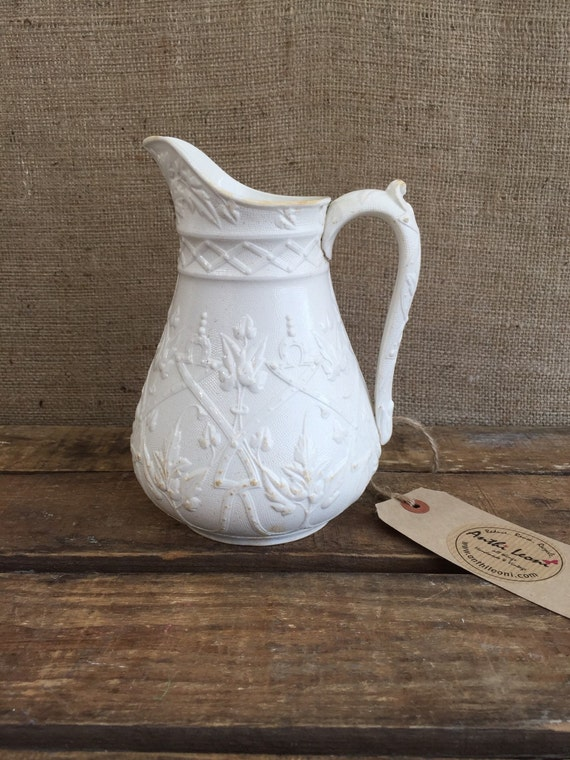 IRONSTONE CHINA JUG - Antique Victorian Salt Glaze Pitcher / Creamware Jug by J Edwards & Sons Dalehall Burslem Staffordshire 1865 / Lace
