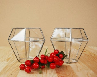 Large Geometric Glass Candle Holder, Rustic Candle Holder, Wedding Candles, Christmas Lights, Centerpiece, Holiday Lights, Tealight Holder