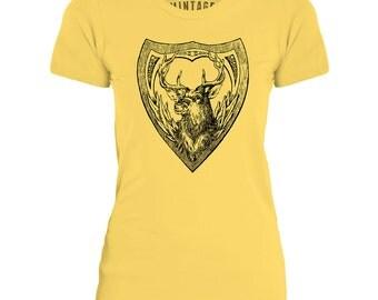 Mintage Deer Shield  Womens Fine Jersey T-Shirt