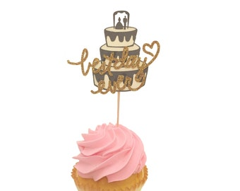 Best Day Ever Wedding Cake Cupcake Toppers - Set of 12