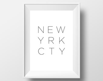 New York City, New York kunst, typografie poster, New York Print, New York City Wall Art, New York City Poster, typografie Wall Art #0014