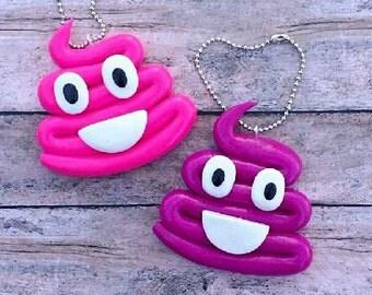 Poop emoji keychains. Poop keychains. Emoji keychains. Magenta and hot pink poop emoji keychains. Polymer clay keychains.