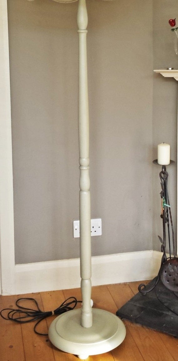 Standard lamp base floor lamp wood upcycled lamp in gorgeous for Distressed silver floor lamp