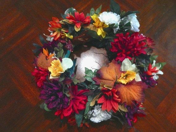 Floral fall wreath centerpiece table decoration