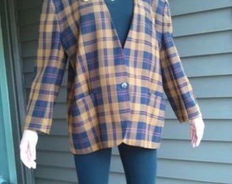 Vintage 1970s Brown Plaid Suit Jacket