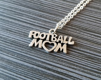 Silver Football Mom Necklace - Mom Heart Necklace - Personalized Necklace - Custom Gift - Mom Jewelry Mother Gift - Mothers Day Necklace