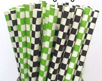 2.85 US Shipping -Gaming Night Straws - Green/Black Video Game Straws - Cake Pop Sticks - Drinking Straws