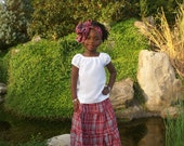 Jamaican Bandana Outfit, Traditional Jamaican Skirt, Heroes Day, Peasant Blouse, International Day Dance Group, Jamaica, Girls Clothing