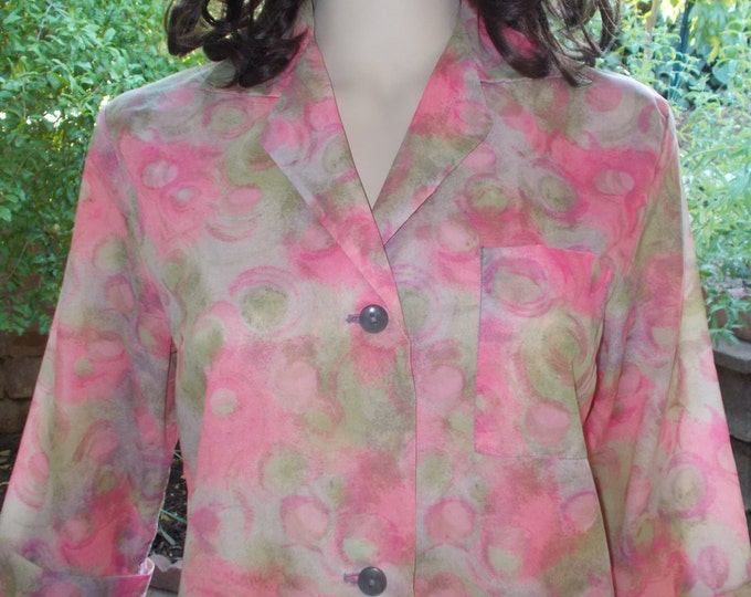 Vintage 60s Fashioned by Philis From Poland Pink Nylon Floral Psychedelic Swirl Womens Dressing Gown Housecoat Above The Knee Shift Dress