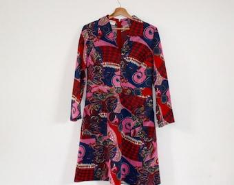 SALE Vintage 1970s Dress   Psychedelic Print Dress   Short Vintage Dress
