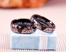 Couple Set 2 Rings Black Tungsten Bands with Domed Edge Mickey Mouse Design Pattern Rings - 8mm & 6mm Tungsten Rings