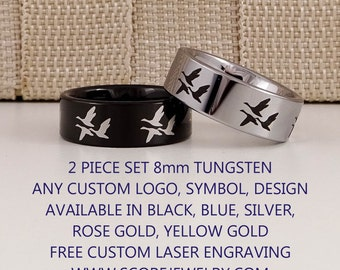 2 Piece Set - Tungsten Bands with Flat Edge Wild Canadian Geese, Canadian Goose Pattern Design Rings - 8mm, 6mm, or 4mm Tungsten Rings