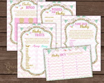 Pink And Gold Baby Shower Games / Baby Shower Games Printable / Baby Bingo