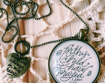 1 Samuel 1:27, Rainbow Baby Necklace, Rainbow Baby Jewelry, Baby Shower Gift, Adoption Jewelry, Handwriting Jewelry, Bible Verse on Necklace