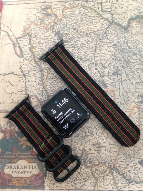 Zulu strap (black rings) 2-piece for Apple watch / Apple watch band (James Bond!!!) 42mm, Free Shipping Worldwide! Premium Collection