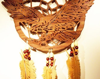 Soaring Eagle Dream Catcher Wall Hanging - Cherry