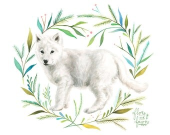 Wolf Pup Art Print | Watercolor Painting | Nursery | Woodland Animal | Floral | 8x10 | 11x14