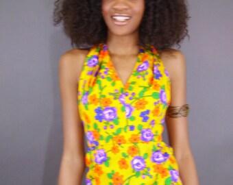 SALE Vintage 1970s boho hippie floral hawaiian maxi halter dress
