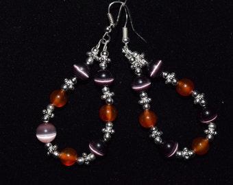 Purple Tiger Eye, Red Carnelian, and Silver Earrings