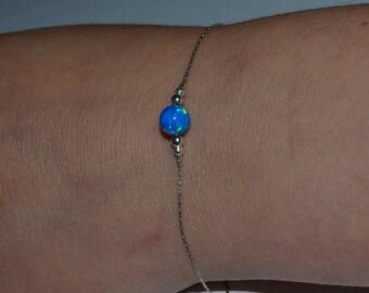 OPAL BRACELET // Opal Ball Bracelet - Opal Jewelry - Dark Blue Opal Bracelet Silver - Dot Bracelet - Drop Bracelet - Opal Charm Bracelet