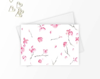 Stationary set of 8, Stationery set, Cute stationery, Watercolour flowers, Floral note cards, Gift for women