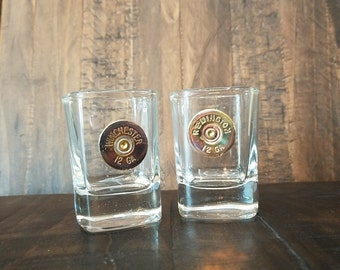 Handmade Bullet Square Shot Glass, 12GA, Winchester or Remington Shot Glasses, Bullet Glasses, Bullet Home Bar Decor, Fathers Day