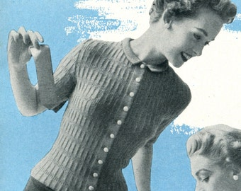 1950's Mid Century Fitted Rockabilly Cardigan Blouse  Knitting PDF Pattern Instant Download