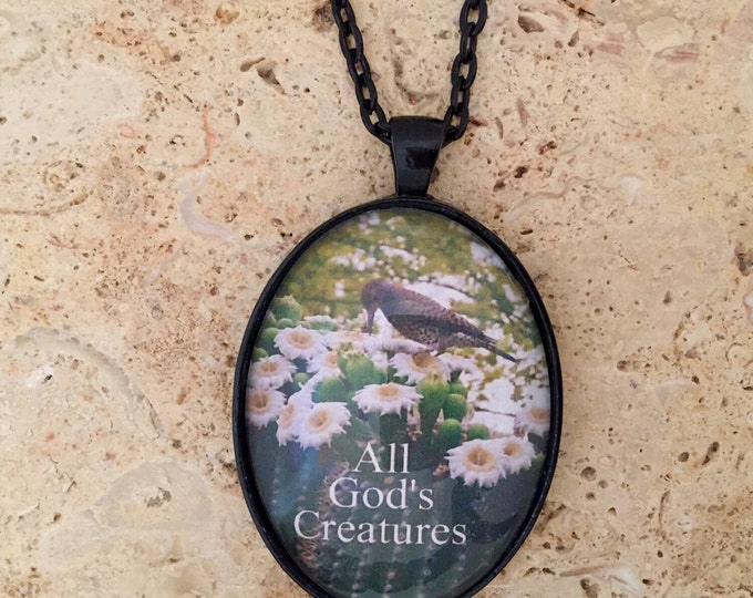 Southwest saguaro cactus in bloom glass photo pendant with cactus wren and a black link chain, Desert in Bloom Pendant, Southwest jewelry