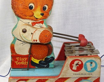 Vintage Fisher Price Tiny Teddy Musical Pull Toy 1950's Candyman-Teddy Bear