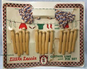 """Vintage Doll Clothes Pins & Clothes Line Original Package """"Little Lassie""""..."""