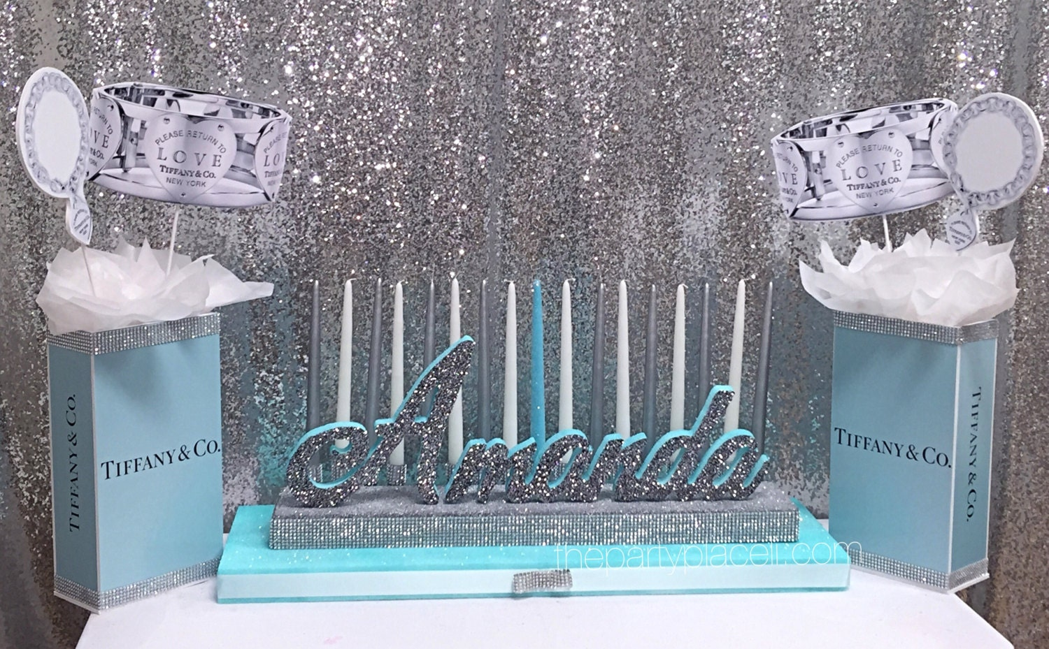 Sweet candelabra and centerpieces tiff blue theme with