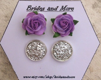 Lilac Rose Studs Faux Druzy Earrings Gift Set 2 Pairs Wedding Earrings Will You Be My Bridesmaid Gift Bridesmaid Earrings Flower Girl Gift