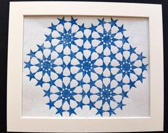 Linocut Islamic Geometric Art Print