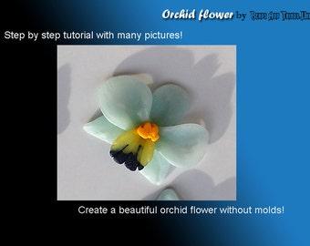 Orchid Flower tutorial, caboson tutorial, polymer clay tutorial, polymer clay orchid flower, orchid tutorial, flower tutorial