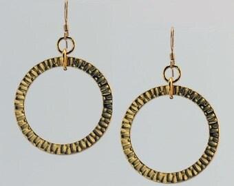 Hammered Gold Hoop Earrings - E1833