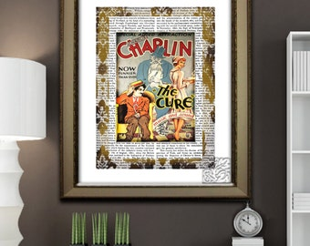 Charlie Chaplin Art Print,  'The Cure' Silent Movie Picture/Poster, Dictionary Art Print