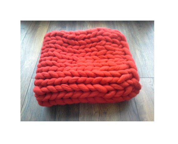 Chunky Knit Blanket Wool Knit Blanket Knitted By