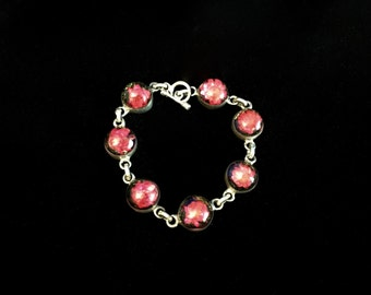 Mexican Silver and Magenta Flower Power Bracelet