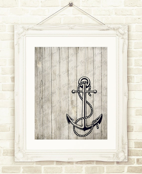 Rustic Wall Decor For Nursery : Rustic anchor print nursery wall art printable