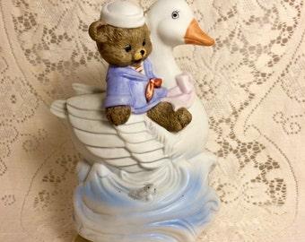 Teddy bear and duck music box