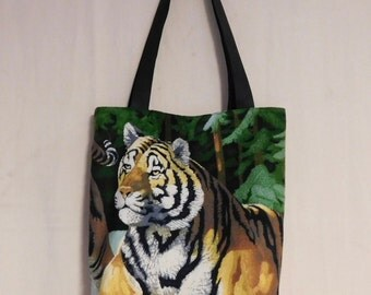 Tiger velour and black nubuck leather tote shopping bag