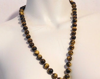 Tiger eye necklace with filigree clasp