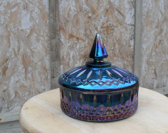 Vintage Carnival Glass Candy Dish with lid